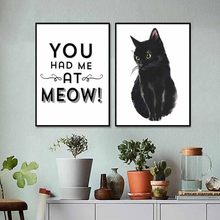 Modular Prints Nordic Style Canvas Poster Wall Art Paintings Black Pet Cat Letter Pictures Home Living Room Decor Simple Style kitchen poster herb chopper pictures hd prints home wall art nordic style modular painting on canvas fresh for living room decor