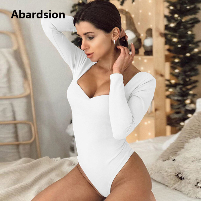 Abardsion V Neck Long Sleeve Women Bodysuit White Black Body Mujer Skinny Stretch Low Cut Sexy Bodysuits 2020 Dropshipping