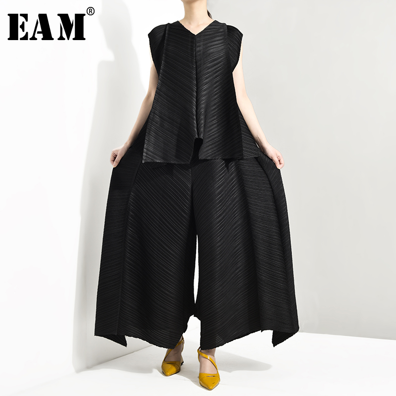 [EAM] Wide Leg Pants Pleaed Two Piece Suit New Round Neck Sleeveless Black Loose Fit Women Fashion Spring Autumn 2019 TC1940