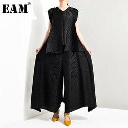 [EAM] Wide Leg Pants Pleaed Two Piece Suit New Round Neck Sleeveless Black Loose Fit Women Fashion Spring Autumn 2020 TC1940