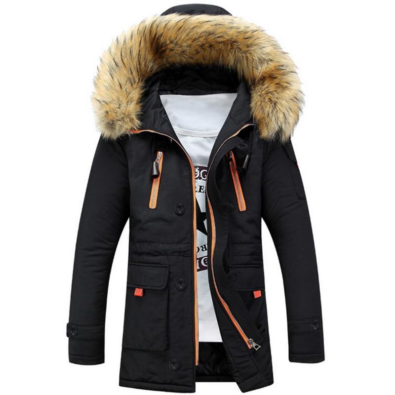 Men Winter Coats Thicken Big Fur Collar Parka Jacket Men Long Sleeve Zipper Hooded Overcoat Jacket Warm Jacket Streetwears 2020