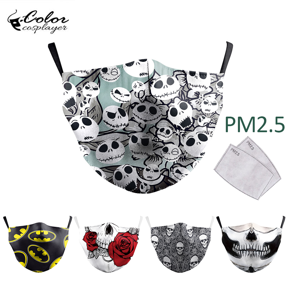 Color Cosplayer The Nightmare Before Christmas Face Mask Print Mouth-Muffle Protective PM2.5 Dust Washable Masks Fabric Reusable