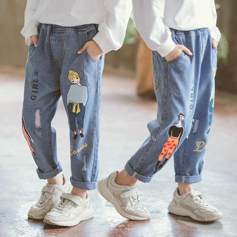 Джинсы для девочек; Детские весенние штаны с героями мультфильмов; Повседневные свободные джинсовые брюки для подростков; Рваные джинсы с эластичной резинкой на талии для девочек 8-12 лет