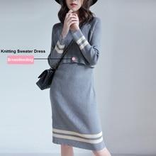 Maternity-Sweater Knitting-Dress Breastfeeding Pregnancy-Knitted Gray/black Casual Stripe