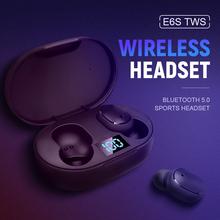 E6S TWS bezprzewodowa słuchawka Bluetooth 5 0 słuchawki sportowe słuchawki douszne z mikrofonem do smartfona Xiaomi Samsung Huawei LG tanie tanio KUGE Ucho Inne CN (pochodzenie) Bezprzewodowy + Przewodowe Do Internetu Bar Monitor Słuchawkowe Do Gier Wideo Wspólna Słuchawkowe