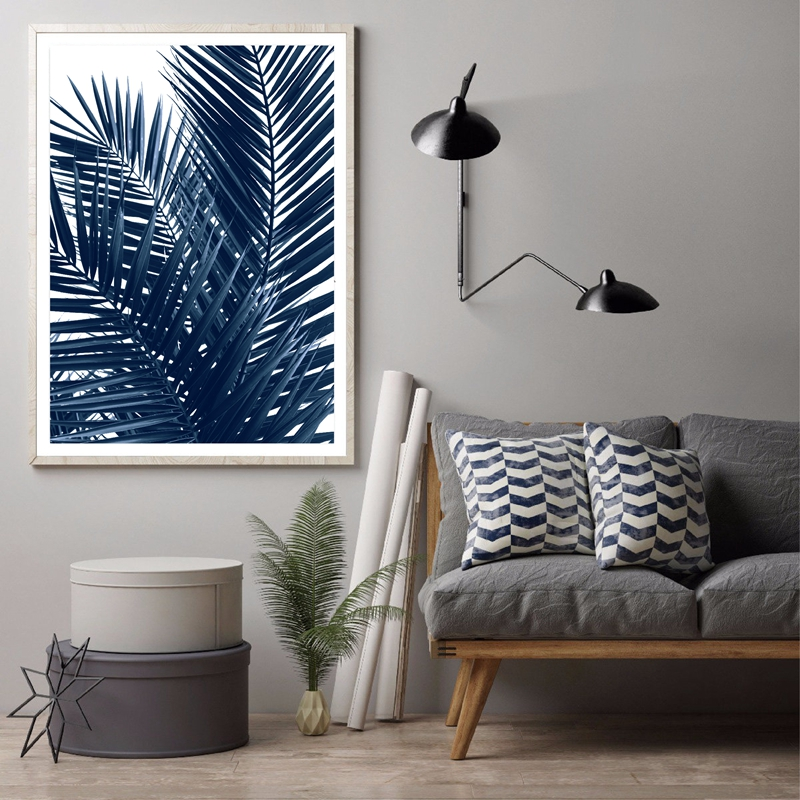 Navy Blue Wall Art Palm Leaves Wall Picture Home Decor