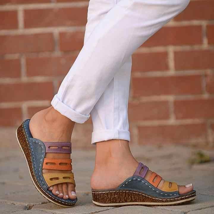 MoneRffi Dropshipping yaz kadın sandalet dikiş sandalet bayanlar burnu açık rahat ayakkabılar platformu kama kaydırıcılar plaj kadın ayakkabı