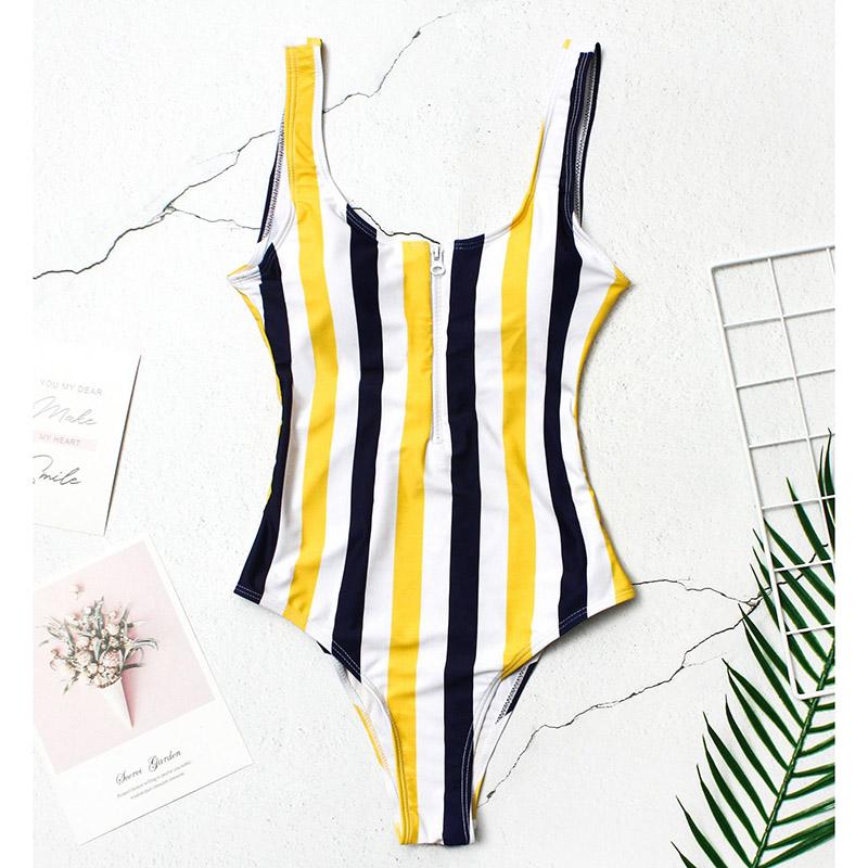 INGAGA, сексуальный цельный купальник на молнии, полосатый купальник, женская одежда для плавания с открытой спиной, монокини, спортивный купа... 39