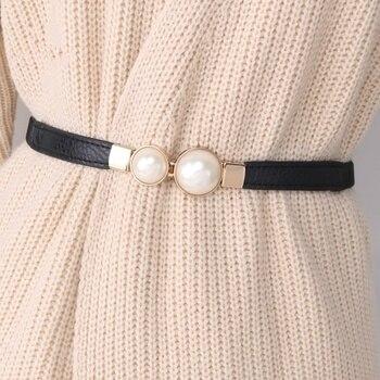 Women Double Pearl Belt PU Leather Dress Skirt Waist Elastic Thin Belts Ladies Waistband 1