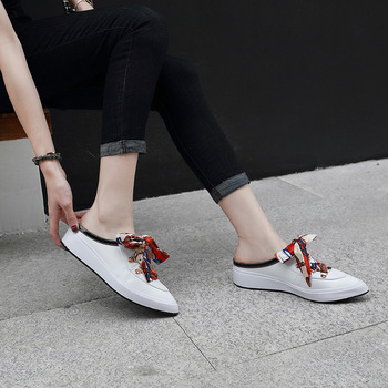 Spring Autumn Loafers Slippers Women Flats Shoes Thick Bottom Slides Ladies Pointed-Toe Riband Platform Flats Shoe Half Slippers 3