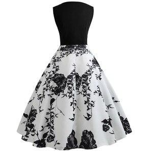 Ropa mujer vestidos kobiety w stylu Vintage drukowanie Bodycon bez rękawów Casual wieczór na imprezę bal Swing sukienka sukienka sukienka 2021