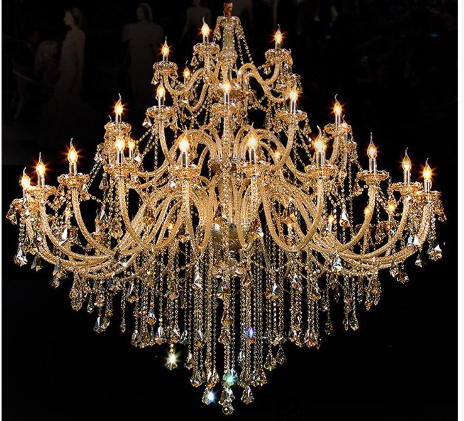 Gratis Pengiriman Modern Chandelier Besar Cognac Lampu Kristal Untuk - Pencahayaan dalam ruangan - Foto 5