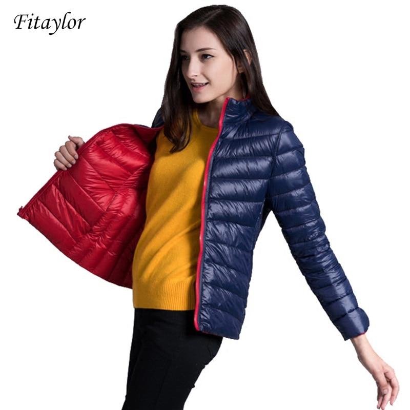 Fitaylor New Winter Women Down Jacket Ultra Light 90% White Duck Down Double Side Coats Short Design Slim Warm Parkas