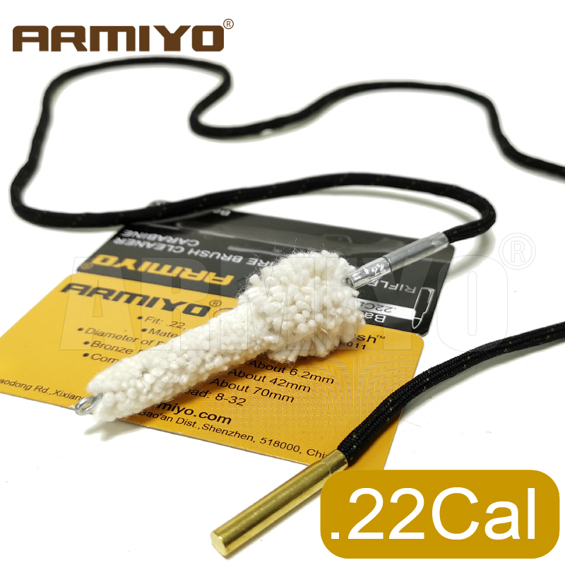 Armiyo .223Cal 5.56mm Gun Cleaning Swabs Chamber Cotton Brush Rifle Barrel Mop Brush For Ar M4 Hunting Accessories Thread 8-32