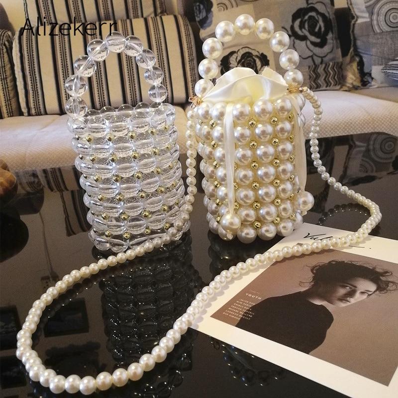 Luxury Big Pearl Bucket Bag Women Chic Handmade Clear Beading Evening Clutch Purses And Handbags Ladies Messenger Bags Dinner