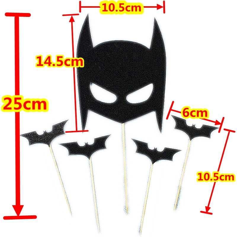 5 個バットマン黒バットテーマケーキトッパーはハロウィンバットマンマスク少年子供の誕生日パーティー好意トッパー装飾用品