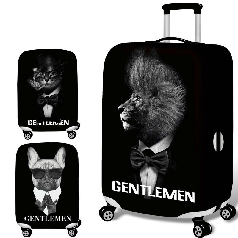 Cartoon Black Travel Luggage Suitcase Protective Covers Cover For Trolley Case Trunk Case Apply To 18-30 Inch Travel Accessories