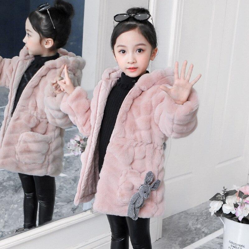 KIDS Girls THICK VELVET QUILT Jacket Winter Fur Collar Long Parka Coat Overwear