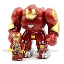Одиночная супер герой Marvel Мстители халкбастер Железного человека фигурка Ironman совместима с LegoINGlys строительные кирпичные игрушки для детей