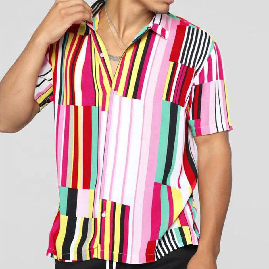 Loose Solid Printed Striped Shirts Slim Fit Beach Fashion Casual Brand Blouse Retro Shirt Men's Short Sleeve Shirt Homme Top