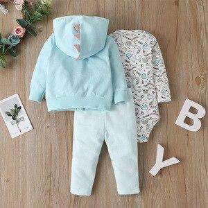 Image 2 - 2019 noworodka dziewczynka chłopiec ubrania zestawy niemowlę dziecko Romper polar i bawełna topy płaszcz + Romper + spodnie 3 sztuk kombinezon zestaw ubrań