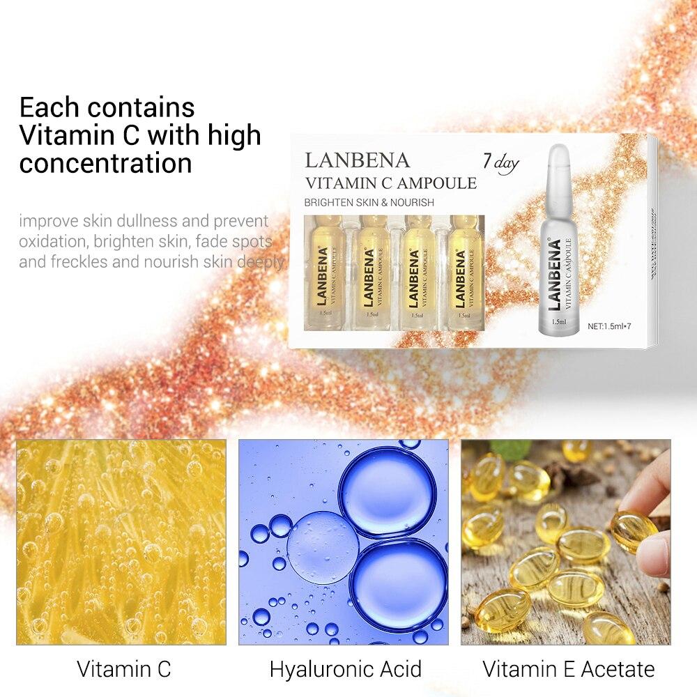 LANBENA Vitamin C Whitening Facial Serum Collagen Skin Care Face Cream Moisturizing Anti-Aging Sheet Mask Essence Remove Freckle
