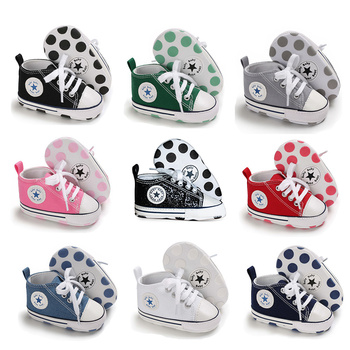 Newborn Boy Girl Shoes First Walkers Infant Baby Shoes White Soft Anti-Slip Sole Uni Toddler Casual Canvas Crib Shoes
