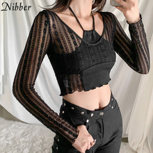 Nibber-Tops transparentes de malla para mujer, camisetas de manga larga, versión coreana, Top corto de encaje negro, camisetas para discoteca para mujer