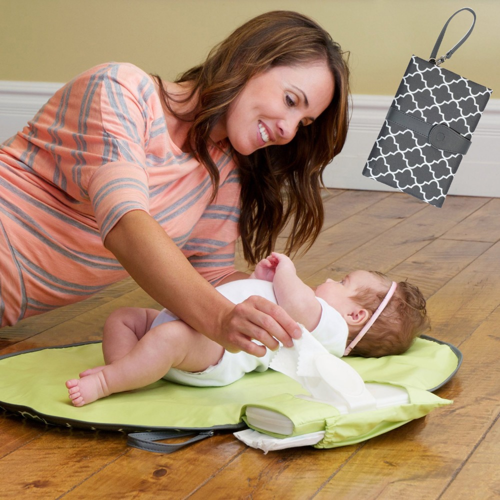 Waterproof Portable Baby Diaper Changing Mat Nappy  Pad Travel  Station Clutch  Stroller Hanging Bag YYT342