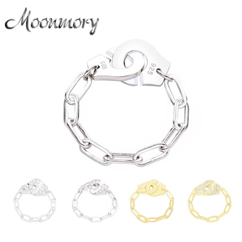 Moonmory Fashion 925 Sterling Silver Handcuff Ring White Paper Clip Chain Menottes Ring Gift For Women And Men Jewelry Dating 1