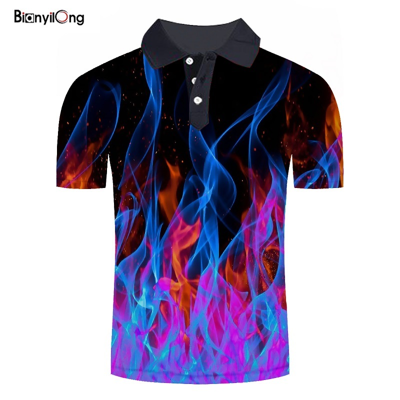 BIANYILONG 2019 new   polo   shirt men New   Polo   shirt Men Summer Shirt Short-sleeve Poloshirts Fashion flame Print Camisa Tops Tees