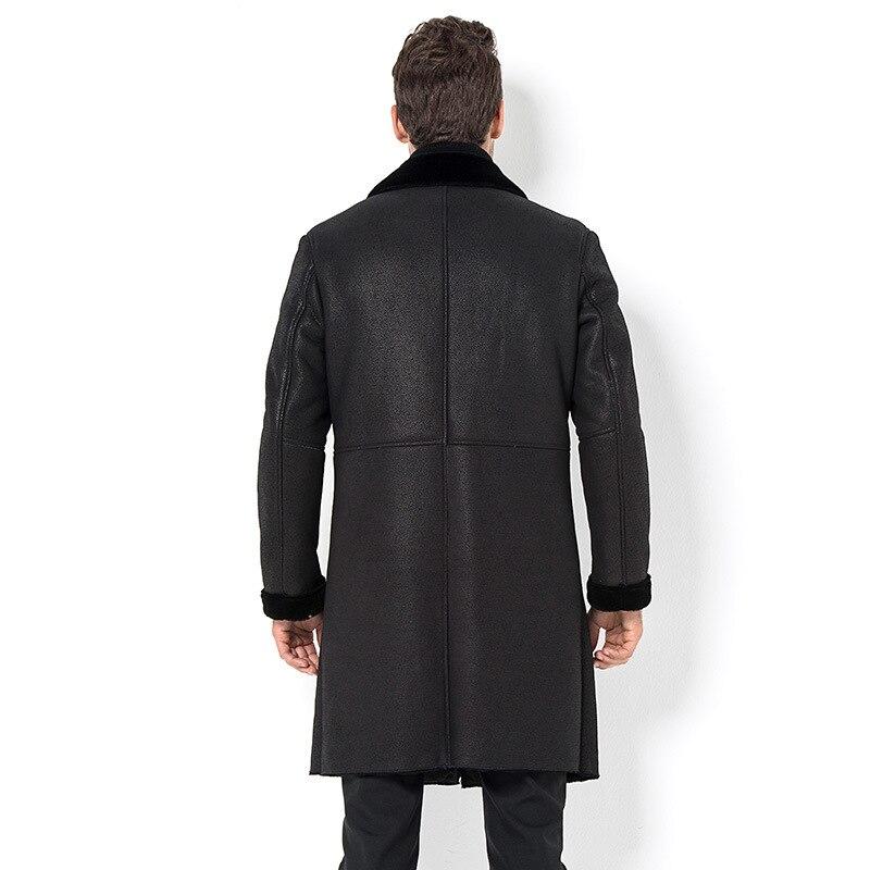 Genuine Leather Winter Jacket Real Sheepskin Coat For Men Natural Lamb Fur Warm Jackets Jaqueta Couro 28068 YY485