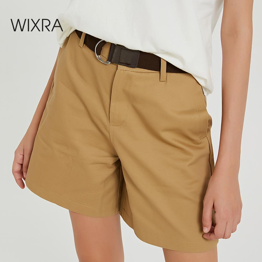Wixra 2019 New Solid Casual Women's Shorts High Waist Pockets Casual Summer Shorts Chic S-XXL Ladies Bottom
