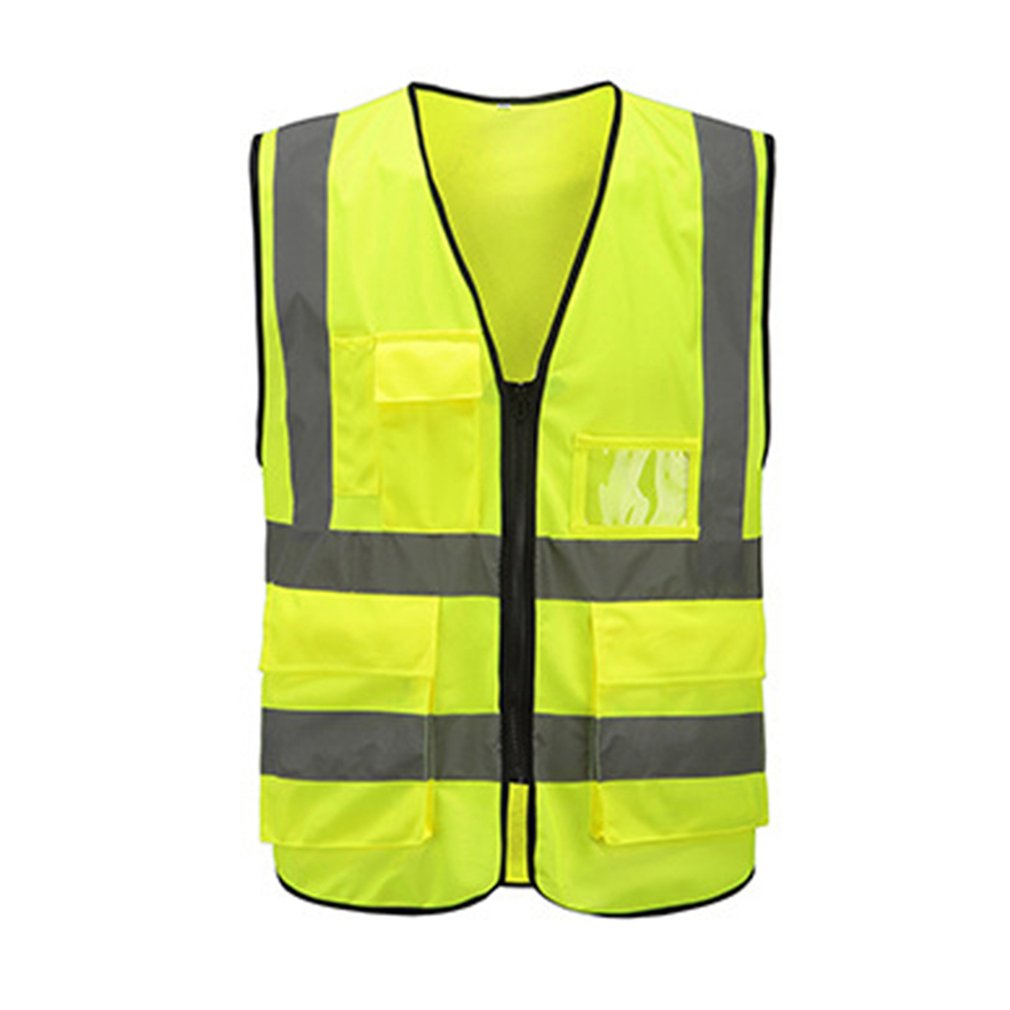) Multi-pocket Reflective Vest Riding Traffic Vest Safety Railway Coal Miners Uniform Vest Breathable Reflective Vest