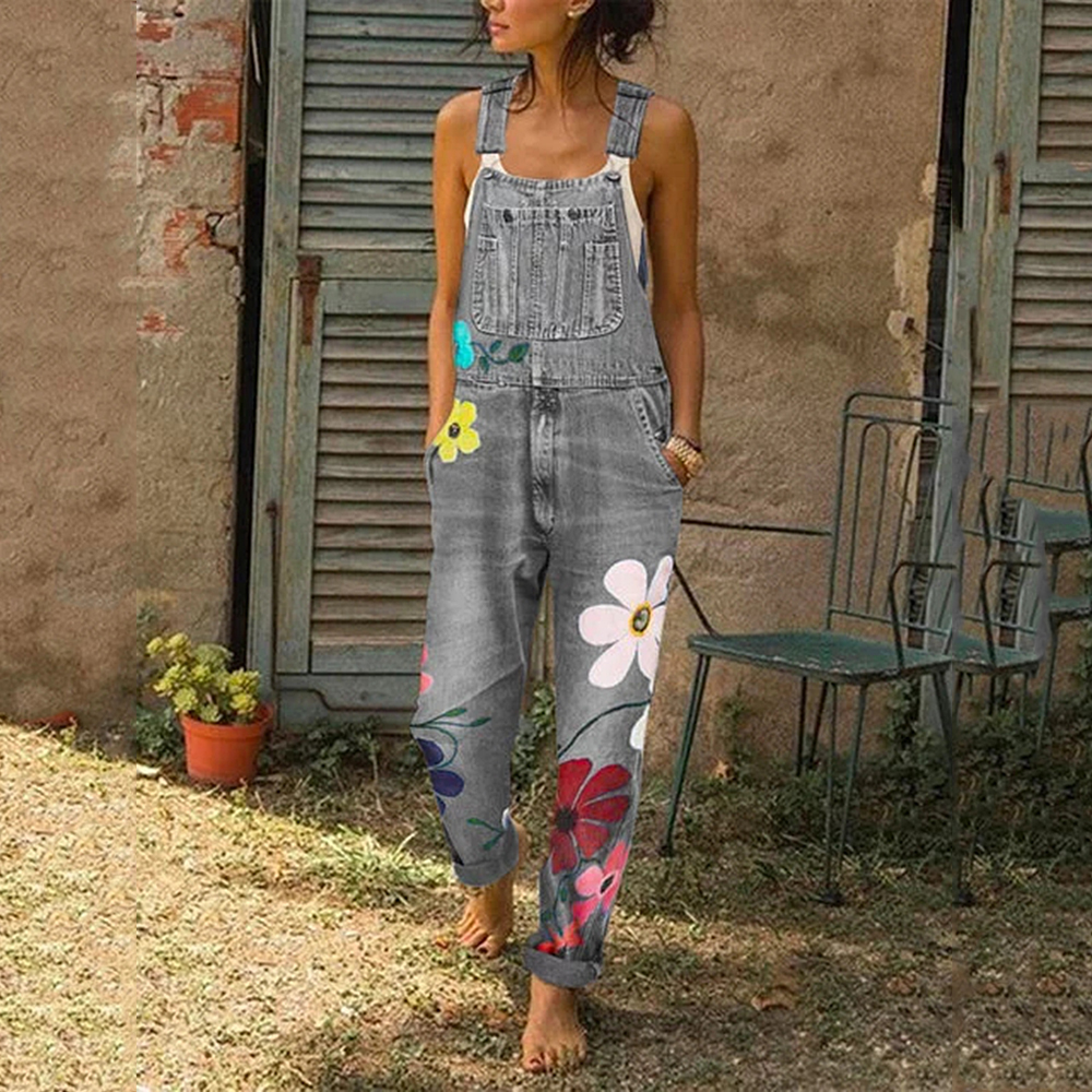 Womens Jeans Jumpsuit Fashion Floral Printed Denim Overalls With Pocket Ladies Light Washed Denim Suspender Pants New Streetwear