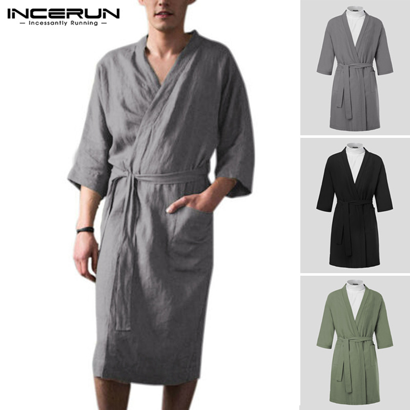 INCERUN Vintage Men Robes Homewear Cotton Linen Lacing Pockets V Neck 3/4 Sleeve Bathrobes Kimono Sleepwear Mens Nightgown 2020