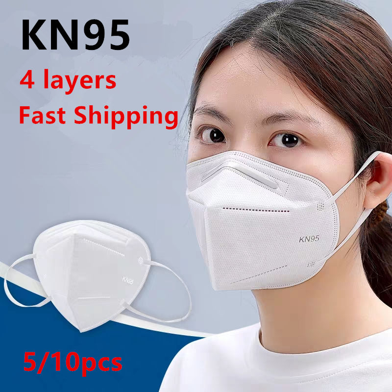 Fast Ship Disposable Mouth Mask KN95 Mask 95% Filtration Non-woven Fabric  PM2.5 Protective Masks For Dust Particles Pollution