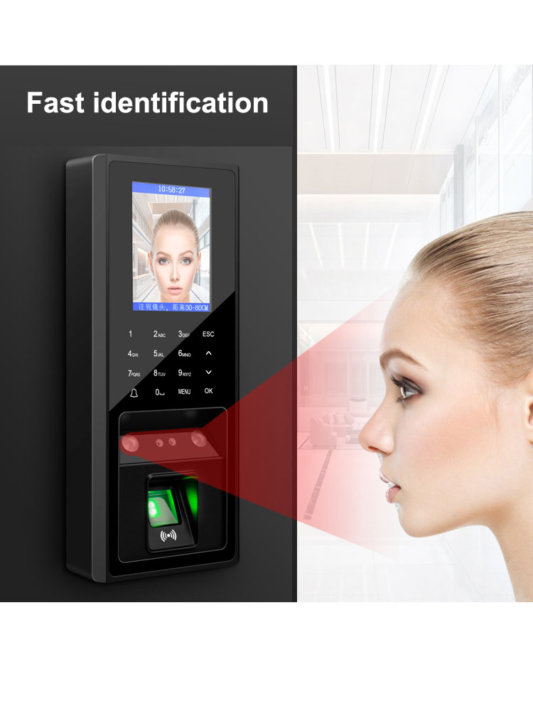 TCP  Fingerprint & Face Access Control Machine System Support 300pcs Faces /3000 Figners/ID Card/ User Password/ Touch Keypad