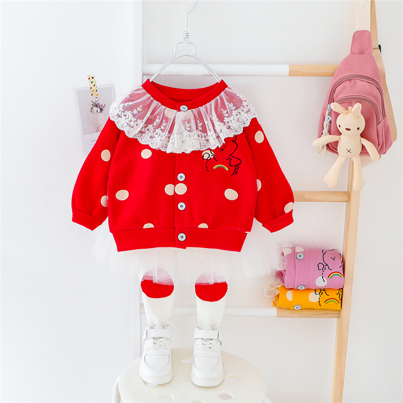 HYLKIDHUOSE Baby Girls Clothing Sets 2020 Spring Toddler Infant Clothes Lace Cartoon Bear Coats TUTU Pants Children Clothes
