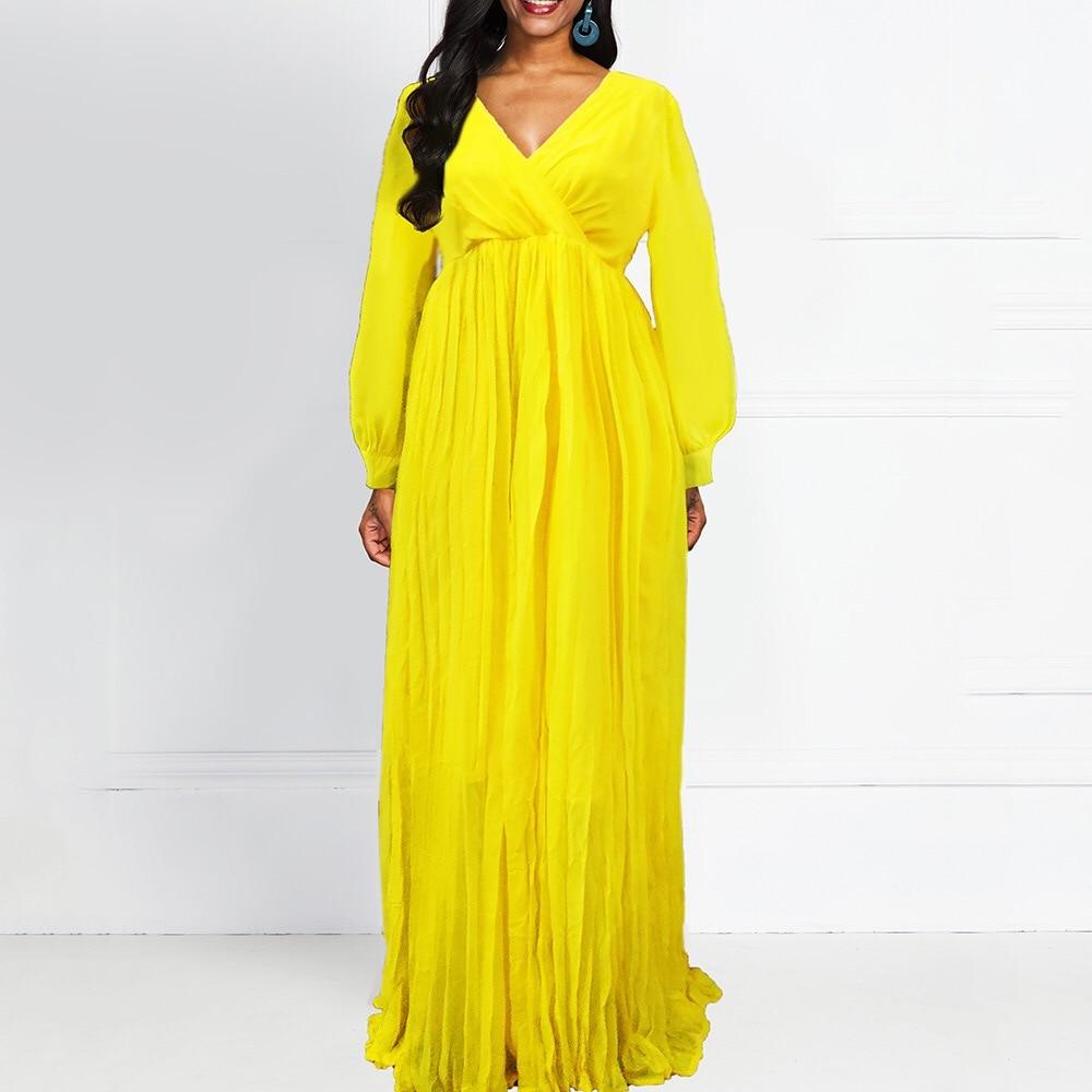 Plus Size Dresses Yellow Dress Long Sleeve Elegant Floor Length Loose V Neck Autumn Fall Big Size Dress Evening Party Wear New