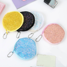 1 PC Sequins Mini Coin Purse Women Girls Creative Glitter Credit ID Card Holder Case Zipper Pouch Girl Earphone Organizer Bag