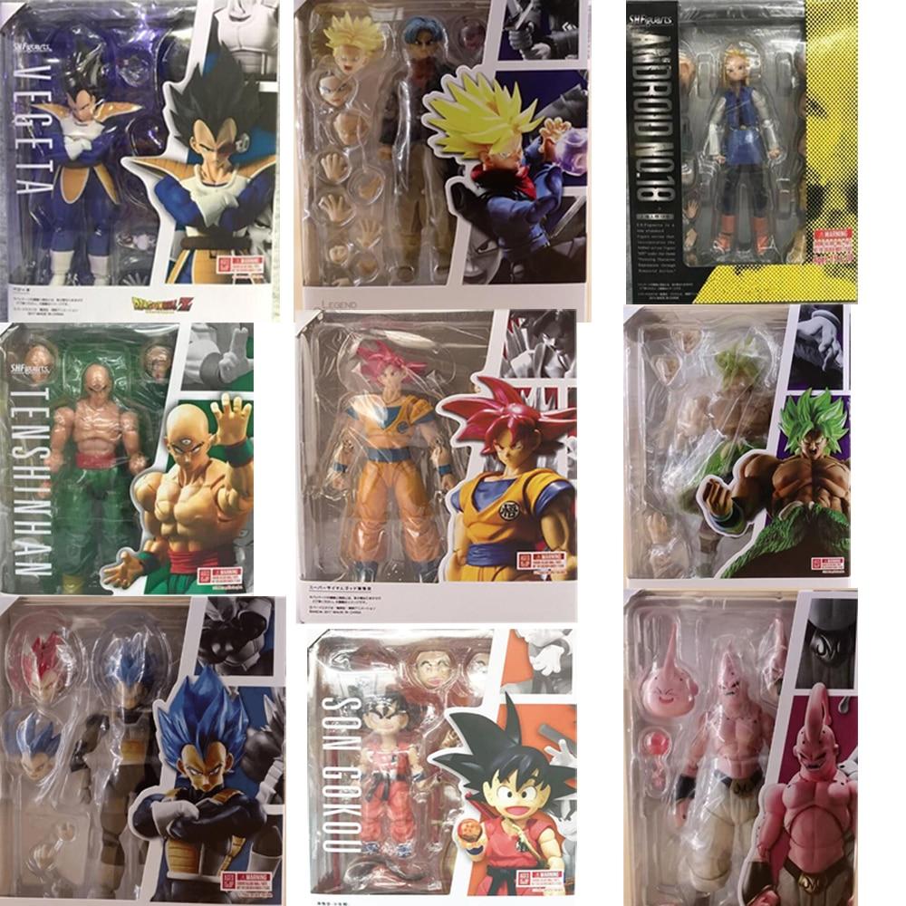 Dragon Ball Action Figure SHF Super Saiyan Son Gokou Goku Android Broly Vegeta Trunks Evil Majin Buu Action Figures Toy  Doll Gi