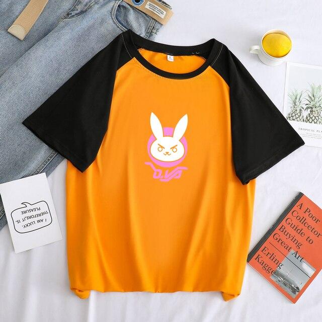 Camiseta divertida con el logotipo de OW DVA Rabbit D.VA, ropa de calle de verano, camiseta informal con estampado de dibujos Kawaii de Harajuku, camisetas de Color para hombre