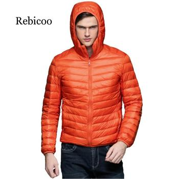 2019 winter new men's light short fashion casual light male hooded jacket large size фото