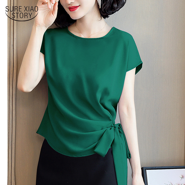 2021 Blusas Mujer De Moda Summer Silk Short-Sleeved Women's Blouse And Tops Office Lady Plus Size Solid Bow Shirts Women 9899 1