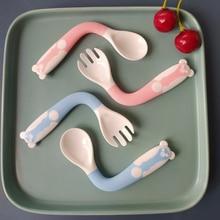 Baby Spoon Fork Feeding-Dishware-Set Cartoon Tableware Food-Grade Bendable Cute PP 2pcs/Set