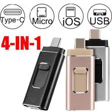 4 em 1 usb 3.0 flash vara para iphone/android tipo c usb chave otg pendrive 256 gb 128 gb 64 gb 32 gb 16 gb mini pen drive