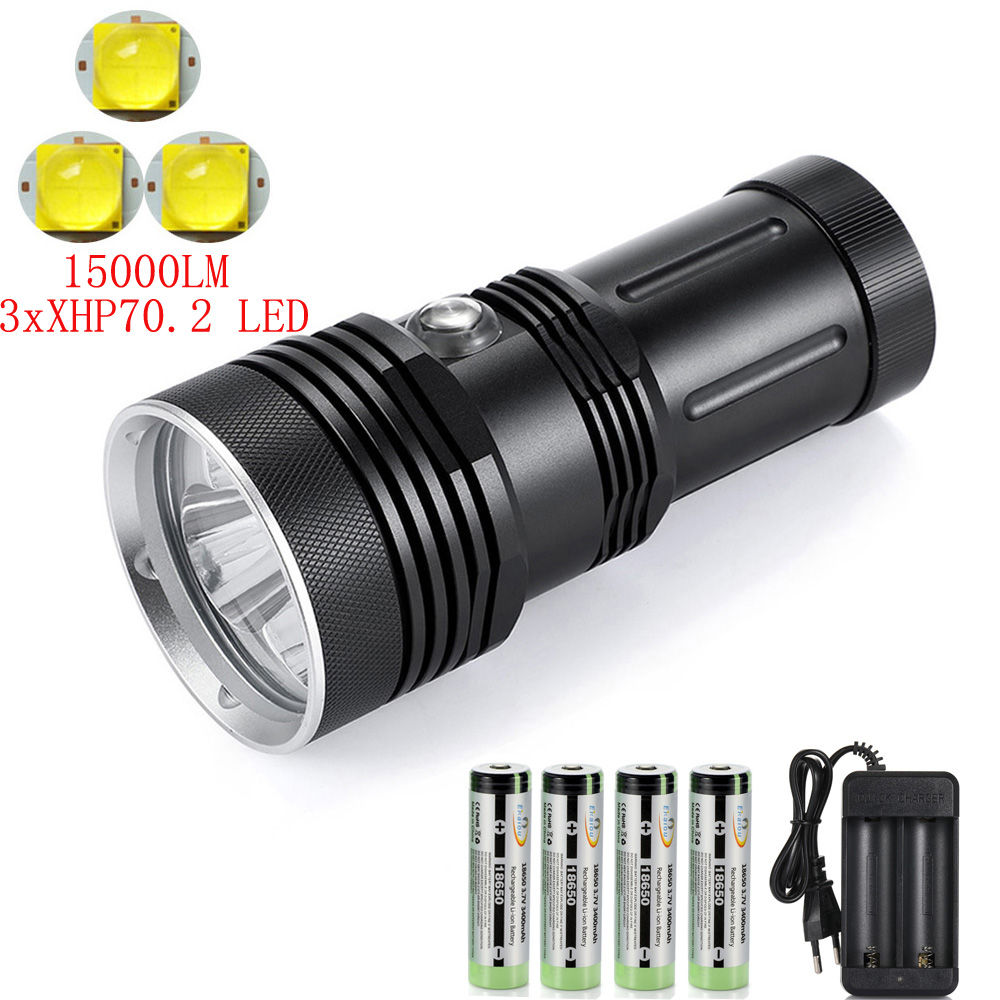 2020 NEW 3LED XHP70.2 LED Bright Light Diving Flashlight Professional 150M Underwater Diving Waterproof Tactical Torch Light
