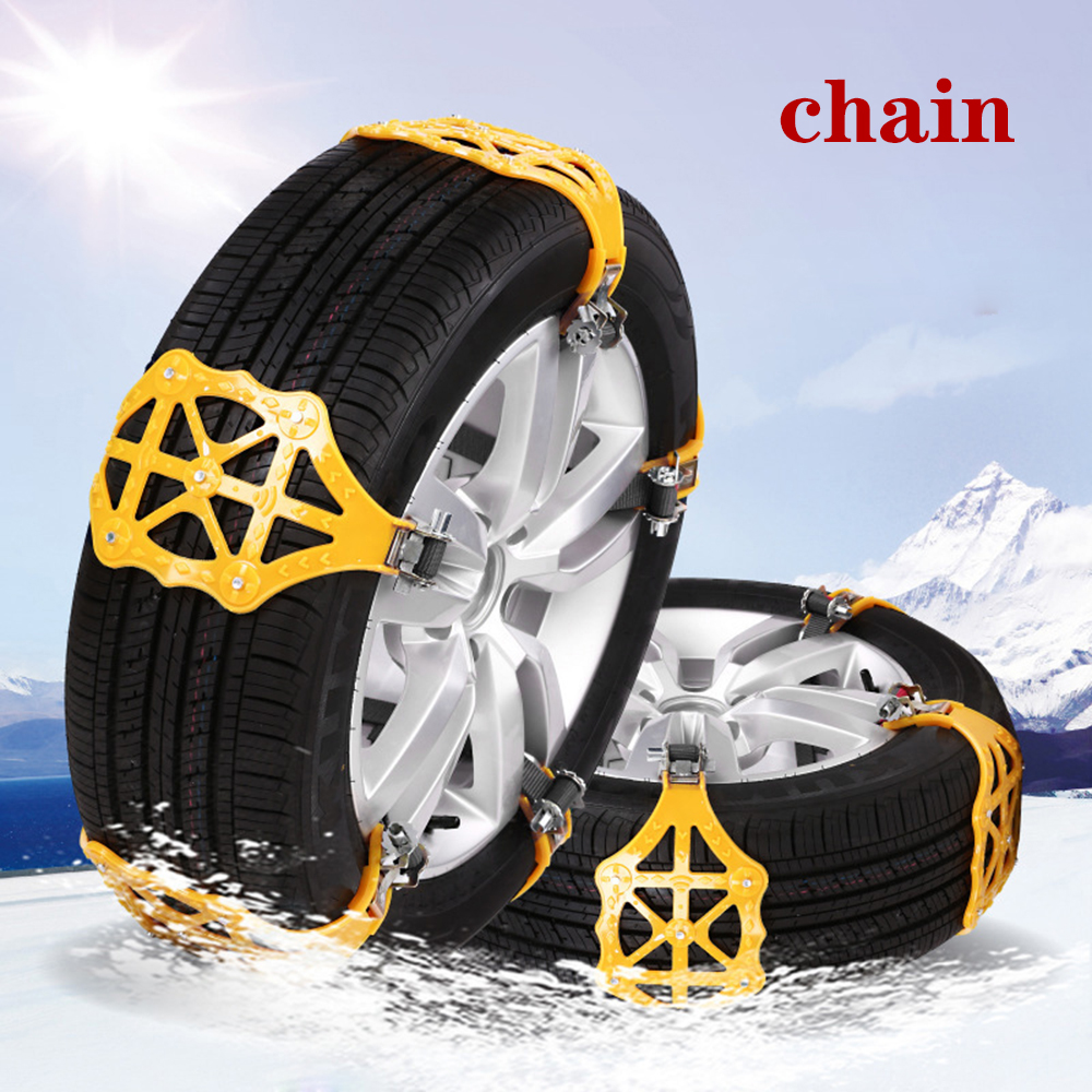 4pcs/set Car Tyre Winter Roadway Safety Tire Snow Adjustable Anti-skid Safety Double Snap Skid Wheel TPU Chains 5
