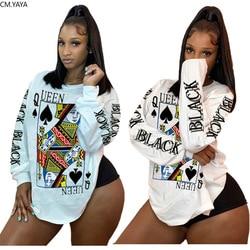 Cm. Yaya Vrouwen Black Queen Q Poker Card Lange Mouw T-shirt Tops